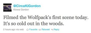Kiowa Gordon tweets abt 1st day of filming BD