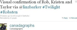 Tweet abt Robsten arriving @ VanCity 2
