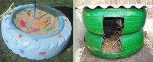 Idées recyclage pneus usagers - Le serviettage de Nafeuse