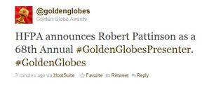 Golden Globes 2011 - Rob Pattinson is attending