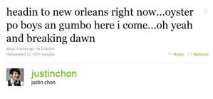 Justin Chon tweets abt heading in BR