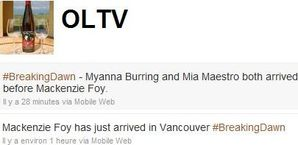 OLTV tweets abt the cast arriving in Vancouver 2