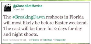 ClosedSetMovies tweets abt doing BD reshoots in Florida 2