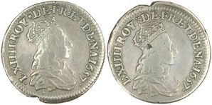 Liard Louis XIV double avers 1657-1657 A sans perles