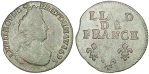 Liard Louis XIV 1695 (Vache) Pau-copie-1