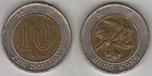 HONG KONG 10 dollars 1dollar=0.11€