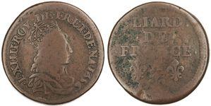 Liard Louis XIV 1656 A - piéfort de 8,32g