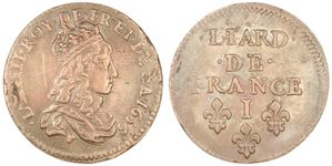 Liard Louis XIV 1656 I sans rose