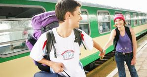 backpackers train travel love