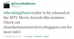 Tweet abt a possible release date for 1st BD Part 1 trailer