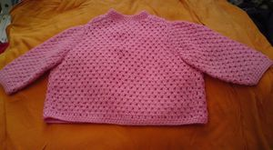 gilet enfant crochet rose dos