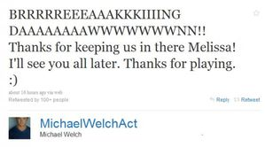 Michael Welch tweets abt heading in BR