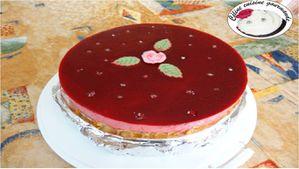 Gâteau mousse framboise litchis