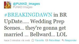 Tweet abt preparing for BD wedding scene