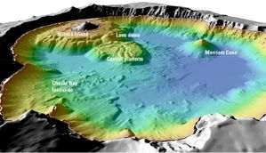 Mazama bathymetry survey map