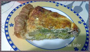 Une part de quiche au saumon brocolis