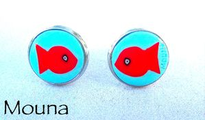 Boucles puces Albert le poisson rouge 2 DISPONIBLE: 10 euros.