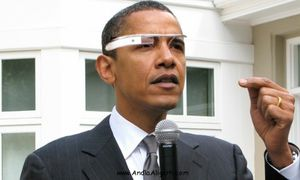 Barack Obama with Google Glass picture