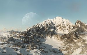[pictures.4ever.eu] snowy mountains, moon 183091