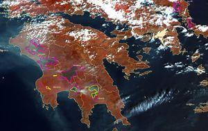 Les zones touchées par les incendies entre le 24 et le 30 août 2007 dans la péninsule du Péloponnèse