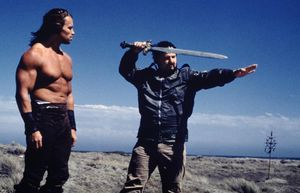 Milius-on-the-set-of-Conan-with-Schwarzenegger