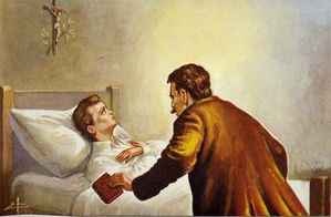 Dominique Savio : 9 mars. Sur son lit de mort.