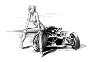 ducati 3 wheels pin up rough black and white
