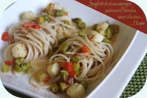 Spaghetti de riz complet aux poivron sauce coco et st jacq