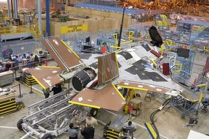 First two production F-35 fighters in final assembly. (Phot