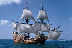 MASSACHUSETS Plymouth Mayflower II at sea cmyk