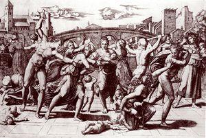 Raimondi Marcantonio - d'apr Raphael - 1510 gravure 238X43