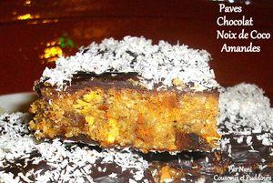 paves chocolat, amandes, noix de coco sans cuisson