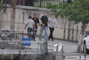 robert pattinson arriving on set for marina sequence 1