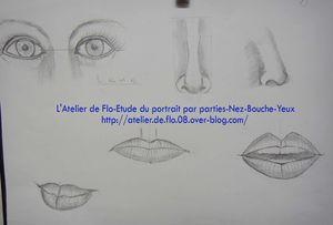 Etude Portrait dessin croquis yeux nez bouche Atellier de Flo24