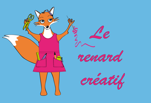LE RENARD CRATIF orange fond bleuRVB