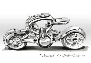 research sketch motorcycle profil top
