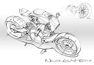 research sketch motorcycle