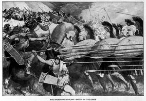 The Macedonian phalanx counter-attacks during the battle of