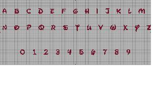 Grille alphabet pour tableau naissance les d lices de mag - Grille point de croix alphabet disney ...