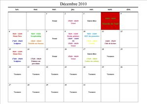 Planning déc 2010
