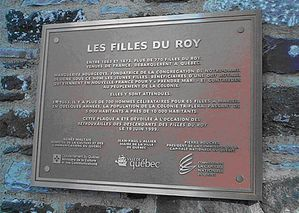 Plaque des Filles du Roy Qubec