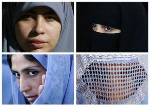 a 0 5 VOILES hijab (G haut), niqab (D haut), tchador (G bas