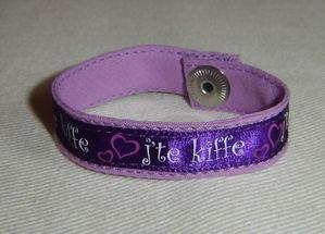 bracelet J'te kiffe mauve violet