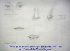Etude Portrait dessin croquis yeux nez bouche Atellier de Flo22