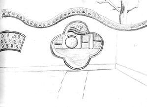 Esquisses dessins études et croquis : paysage - Le dessin du jour : cour chinoise au crayon hb F. Claire - Claire Frelon artiste peintre profesionnel en Morbihan - Bretagne - France - galerie de peinture