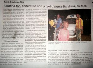 ARTICLE OUEST FRANCE 11 SEPT 2014