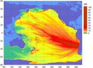 Projektion des erwarteten Tsunami nach dem Erdbeben von Chile 2010