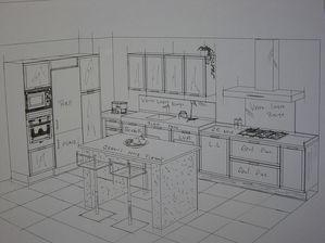 plan cuisine faades chne blanchi chne teinte wenge plan de travail granit noir flamme vieilli plan vier inox paisseur 10cm longueur 180cm crdence