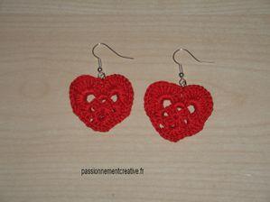 Boucles d'oreilles coeur crochet