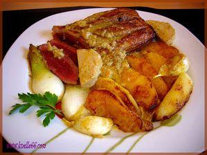 Magret de canard au foie gras et pomme1